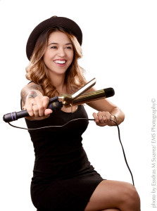 Portrait of Krystal Marie with Curling Iron